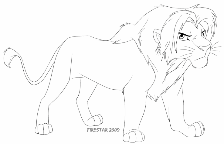 Free coloring pages of simba fan art