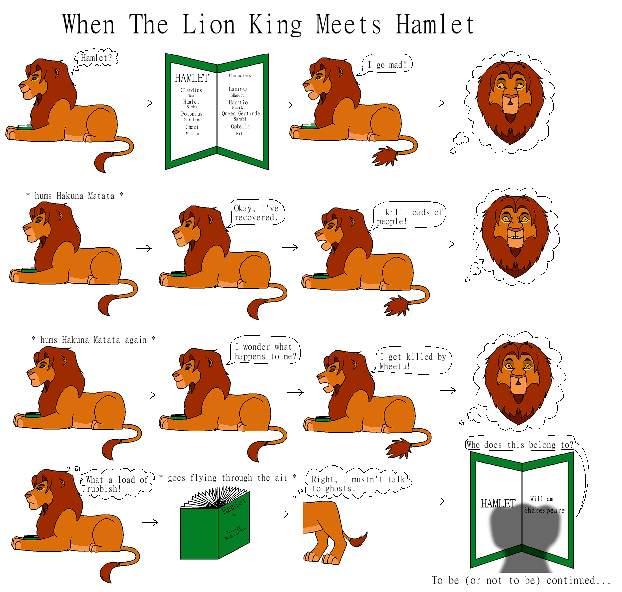 the comparison in similarities of hamlet by william shakespeare and the movie the lion king In both hamlet and the lion king, they talk about circle of life in the tragedy of hamlet, hamlet answers king claudius upon asking a question where is the dead body of polonius, hamlet explains how man dies, warms eats the man, fish eats the worms, and a new man eats the fish correspondingly mufasa tells simba when a lion dies the lion turns.